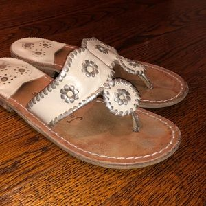 Beige and silver jack Rogers sandals